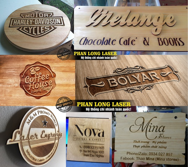 Địa chỉ khắc laser theo yêu cầu lên biển hiệu quảng cáo bằng gỗ giá rẻ tại Tp Hồ Chí Minh, Sài Gòn, Hà Nội, Đà Nẵng và Cần Thơ