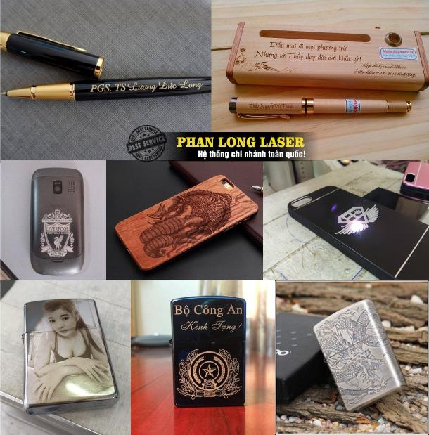 Xưởng khắc laser lên bút viết logo hoa văn vỏ điện thoại và bật lửa Zippo quà tặng tại Quận 10 Tphcm