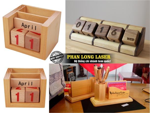 Xưởng sản xuất lịch gỗ để bàn, lịch gỗ treo tường khắc laser theo yêu cầu giá siêu rẻ