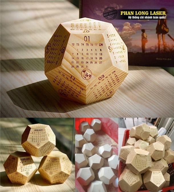 Công ty gia công sản xuất lịch gỗ để bàn, lịch gỗ ngũ giác, lục giác, 12 mặt bằng gỗ cho tết 2021, tết 2022