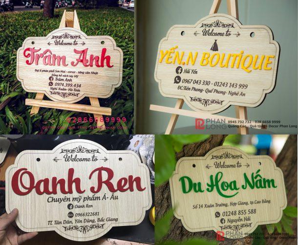 Một số hình ảnh về biển bảng gỗ tên shop Phan Long Laser làm cho khách hàng tại Hà Tĩnh, Nghệ An, Cao Bằng và Bắc Giang